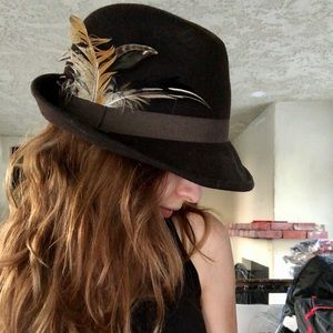 Antique Brown Felt Feathered Fedora- 22""